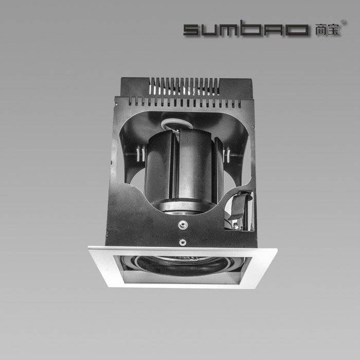 DW030-1 SUMBAO Professional Single Head Square Trim 24W/30W Recessed Spotlights for High End Retail Shops