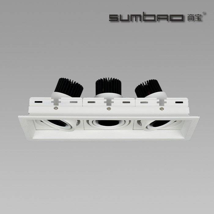 DW031-3 SUMBAO Professional Multi- Head Square Trim Recessed 6W10w Spotlights for High End Retail Shops