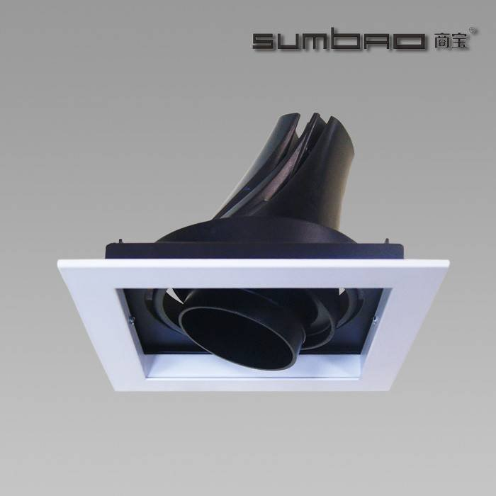 DW042-1 SUMBAO Professional Single Head Square Trim Recessed Spotlights for Retail Shops, Residences, Museums, Hotels, Shopping